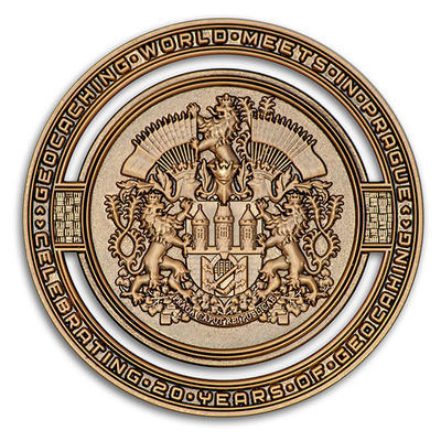 2020 GIGA Prague geocoin - Antique Gold - 1