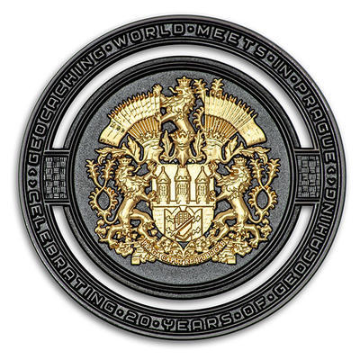2020 GIGA Prague geocoin - Black Nickel LE - 1