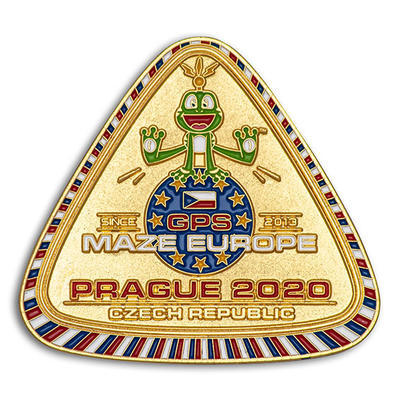 GPS MAZE Europe 2020 Geocoin - Gold Edition - 1