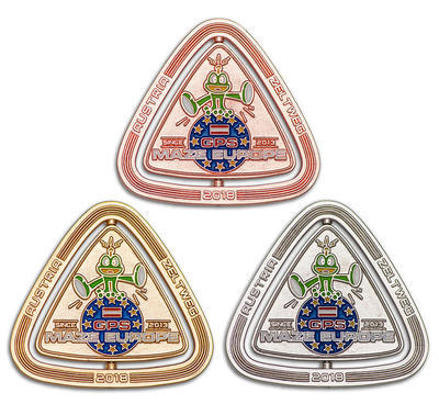 GPS MAZE Europe 2018 Geocoin - Complete Set of 3