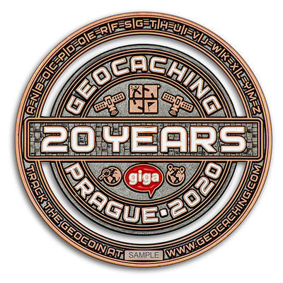 2020 GIGA Prague geocoin - Antique Copper - 2