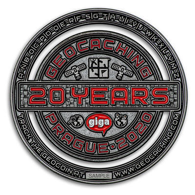 2020 GIGA Prague geocoin - Black Nickel LE - 2